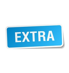 Extra blue square sticker isolated on white vector