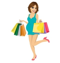 Young pregnant woman having fun with shopping bags vector