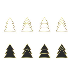 A set of geometric christmas trees vector