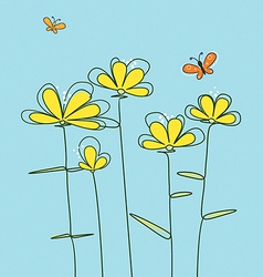 abstract yellow flowers vector image vector image