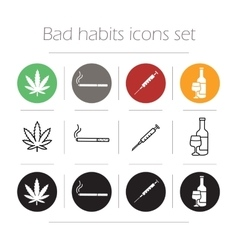 Bad habit icons set vector