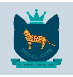 Bengal cat flat badge vector