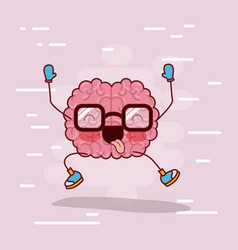 brain cartoon with glasses and happy in background vector image