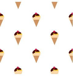 Chocolate ice cream with cherry pattern seamless vector