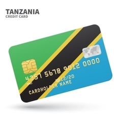 Credit card with tanzania flag background for bank vector