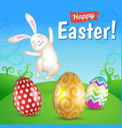 Easter eggs and white jumping bunny in the meadow vector