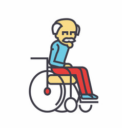 Elder man in wheelchair concept line icon vector