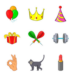 Excellent performance icons set cartoon style vector
