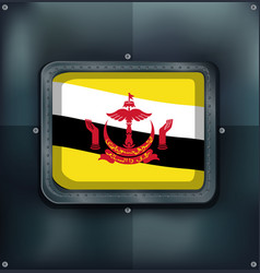 Flag of brunei on metalic frame vector