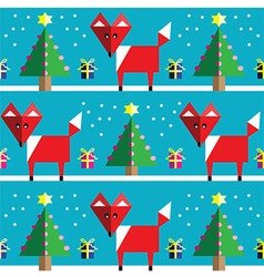 Geometric xmas pattern with fox vector