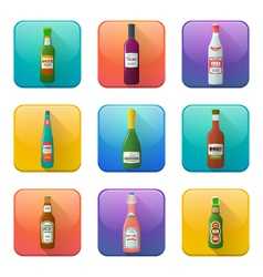 Glossy alcohol bottles icons set vector