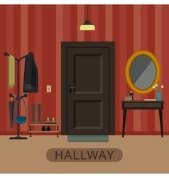 Hallway interior with door vector image vector image
