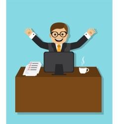 joyful businessman sitting behind a desk vector image