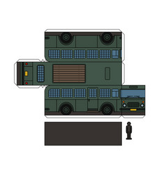 paper model of an old prison bus vector image vector image