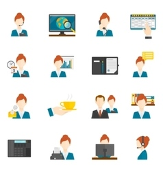 Personal assistant flat icons vector