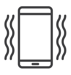 phone vibrating line icon web and mobile vector image vector image
