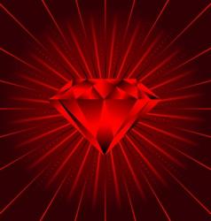 red ruby diamond beams vector image
