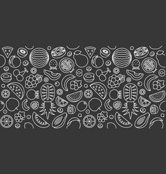seamless pattern of fruits in outline icon vector image vector image