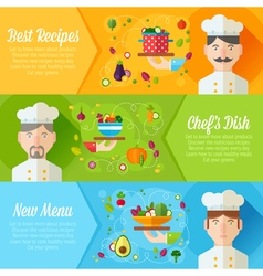 Set of concept banners with flat cook vector image vector image