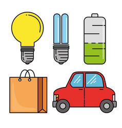 set of eco energy elements vector image