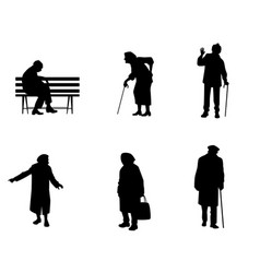 silhouettes of older people vector image