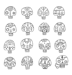 Skulls outlines set vector image vector image