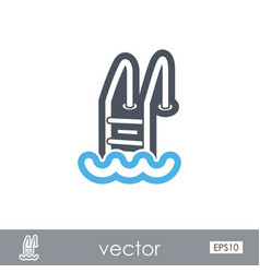 Swimming pool outline icon summer vacation vector