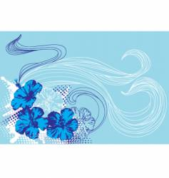 tropical flowers and waves vector image