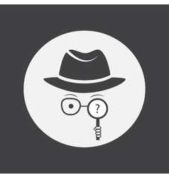 Unknown man in hat glasses and a magnifying glass vector