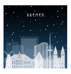 winter night in bremen night city in flat style vector image vector image