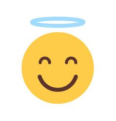 yellow smiling cartoon face cute angel emoji vector image