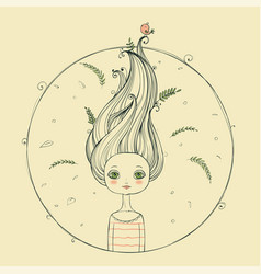 Beautiful girl with flying hair vector