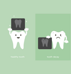 tooth and tooth decay holding dental x-ray film vector image