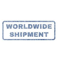 Worldwide shipment textile stamp vector