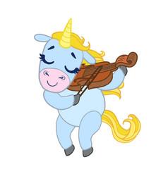 cartoon light blue lovely unicorn violinist vector image