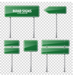 road green traffic sign blank board with place vector image