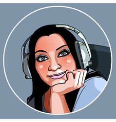 Beautiful girl in headphones smiling vector