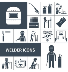 Welder icons black set vector