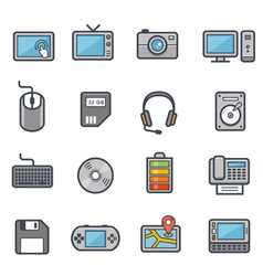 Technology and Devices Icon Bold Stroke with Color vector image