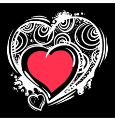 Template with valentine hearts in line art style vector