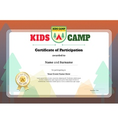 Kid certificate of participation template for camp vector