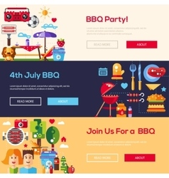 Flat design barbecue and summer picnic banners set vector