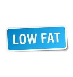 Low fat blue square sticker isolated on white vector