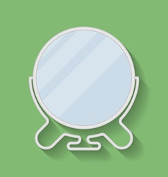 Metal shaving or make-up cosmetic mirror flat icon vector