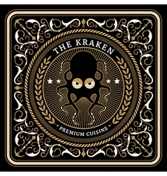 Nautical the kraken retro card vector