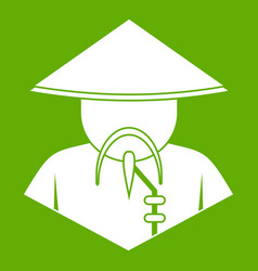Asian man in conical hat icon green vector