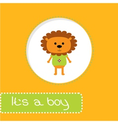 Baby shower card with lion its a boy vector