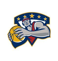 Basketball Player Holding Ball Star Retro vector image vector image