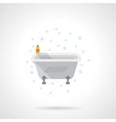 Bath with foam flat color icon vector