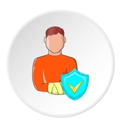 Broken arm of man and sign safety icon vector image